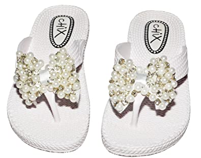 Classy Ladies Faux Pearl and Diamonte Woven Effect Wedge Flip Flops