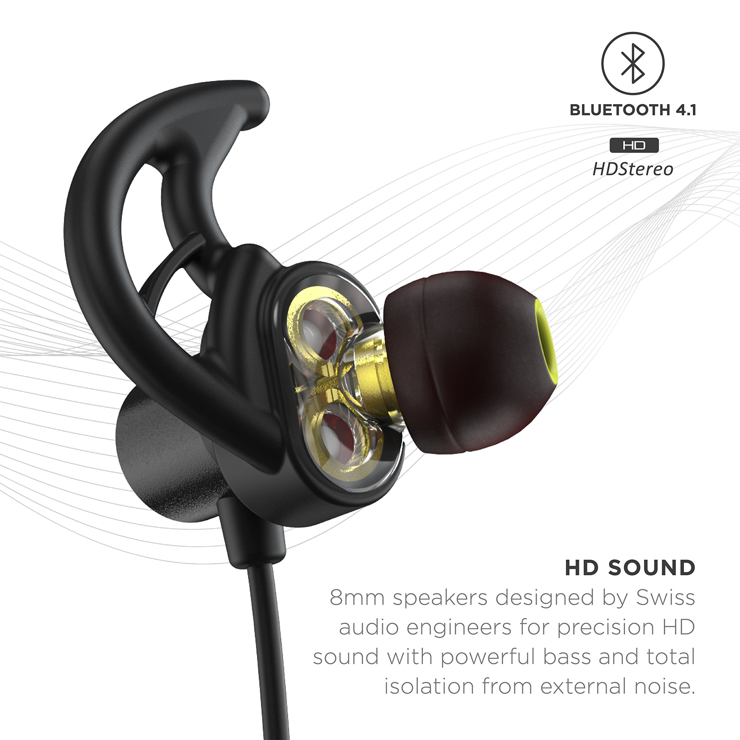 Phaiser BHS-790 Bluetooth Headphones with Dual Graphene Drivers and AptX Sport Headset Earphones with Mic and Lifetime Sweatproof Guarantee - Wireless Bluetooth Earbuds for Running, Blackout by Phaiser (Image #2)