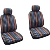 Baja Blue - Striped Saddle Blanket Front Seat Cover Pair