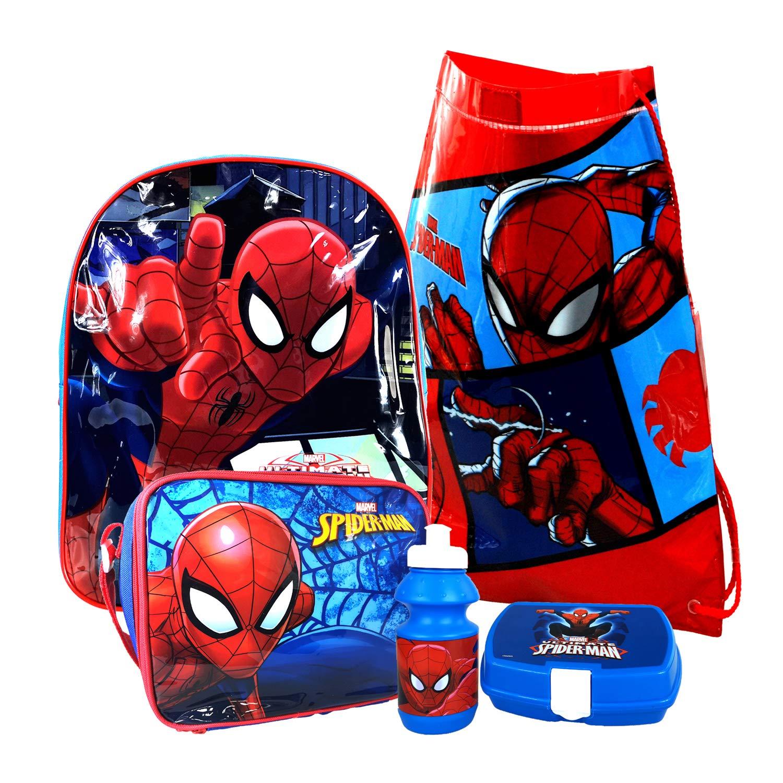 Marvel® Ultimate Spider-Man Backpack Rucksack, PVC Swim Bag, Lunch Bag, Sandwich Box & Water Bottle Set for Kids Children Boys Spiderman Fans