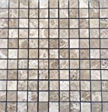 Emperador Light Brown 1x1 Polished Premium Marble Mosaic Tile, Shower Walls, Flooring, Bathroom