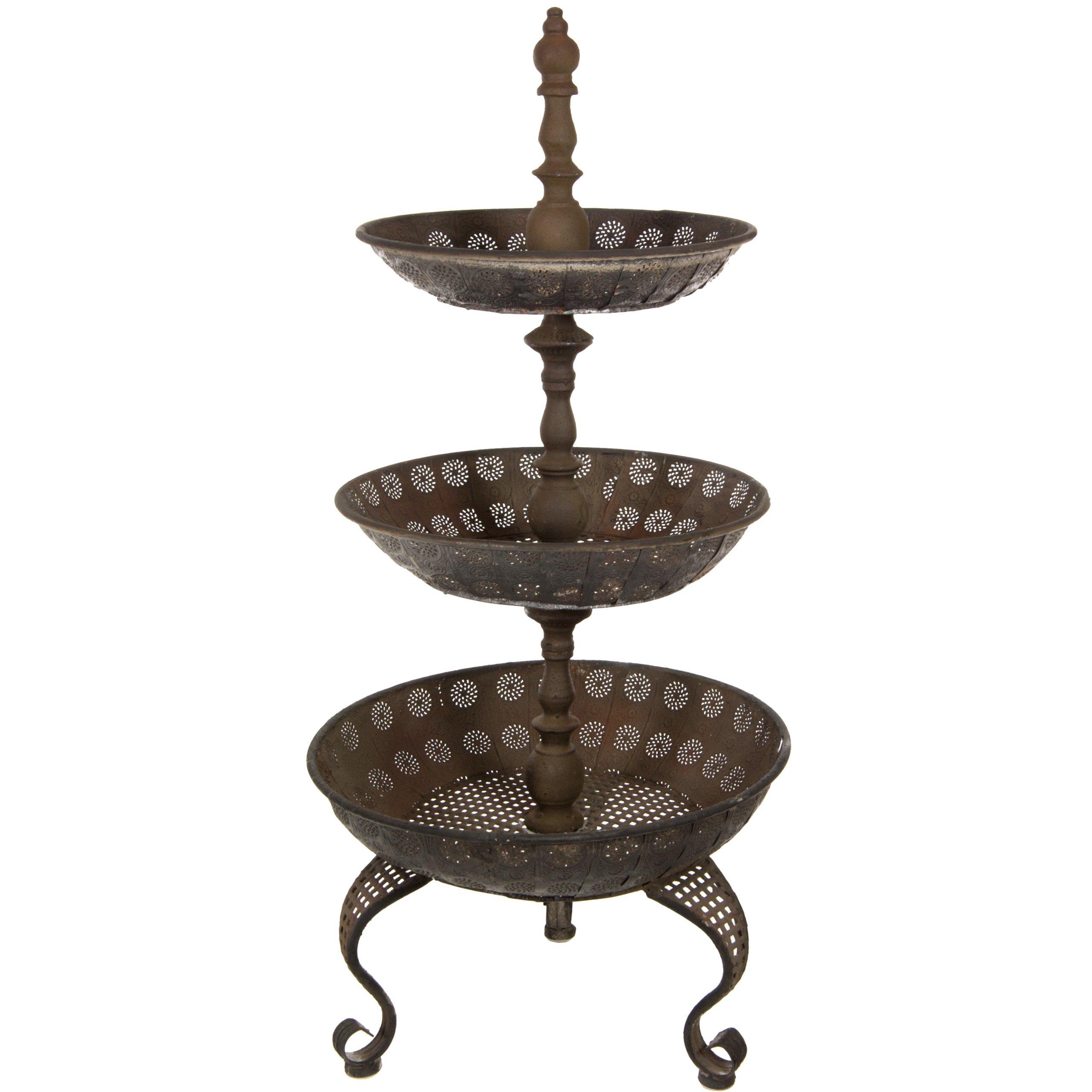 Oriental Furniture 3 Tier Iron Tray Display Stand