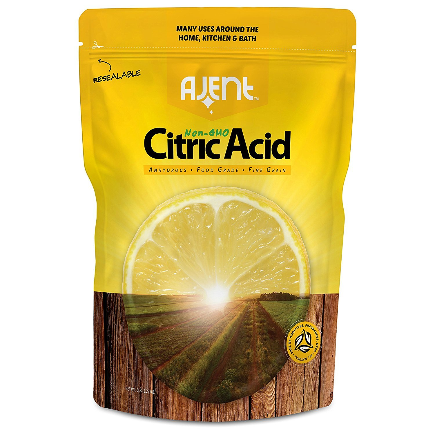 Ajent Citric Acid 100% Pure Food Grade Non-GMO (Approved for Organic Foods) 5 Pound