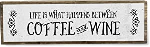 ANVEVO Life is What Happens Between Coffee and Wine - Handmade Metal Wood Coffee Sign – Cute Rustic Wall Decor Art - Farmhouse Decorations – Coffee Signs for Home Decor
