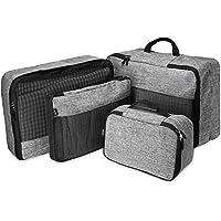 ProCase 4 Unidades de Cubos de Embalaje para Viaje, Organizador Ligero Multifuncional de Compresión para Equipaje de Viaje con Bolsa de Aseo Adicional –Gris