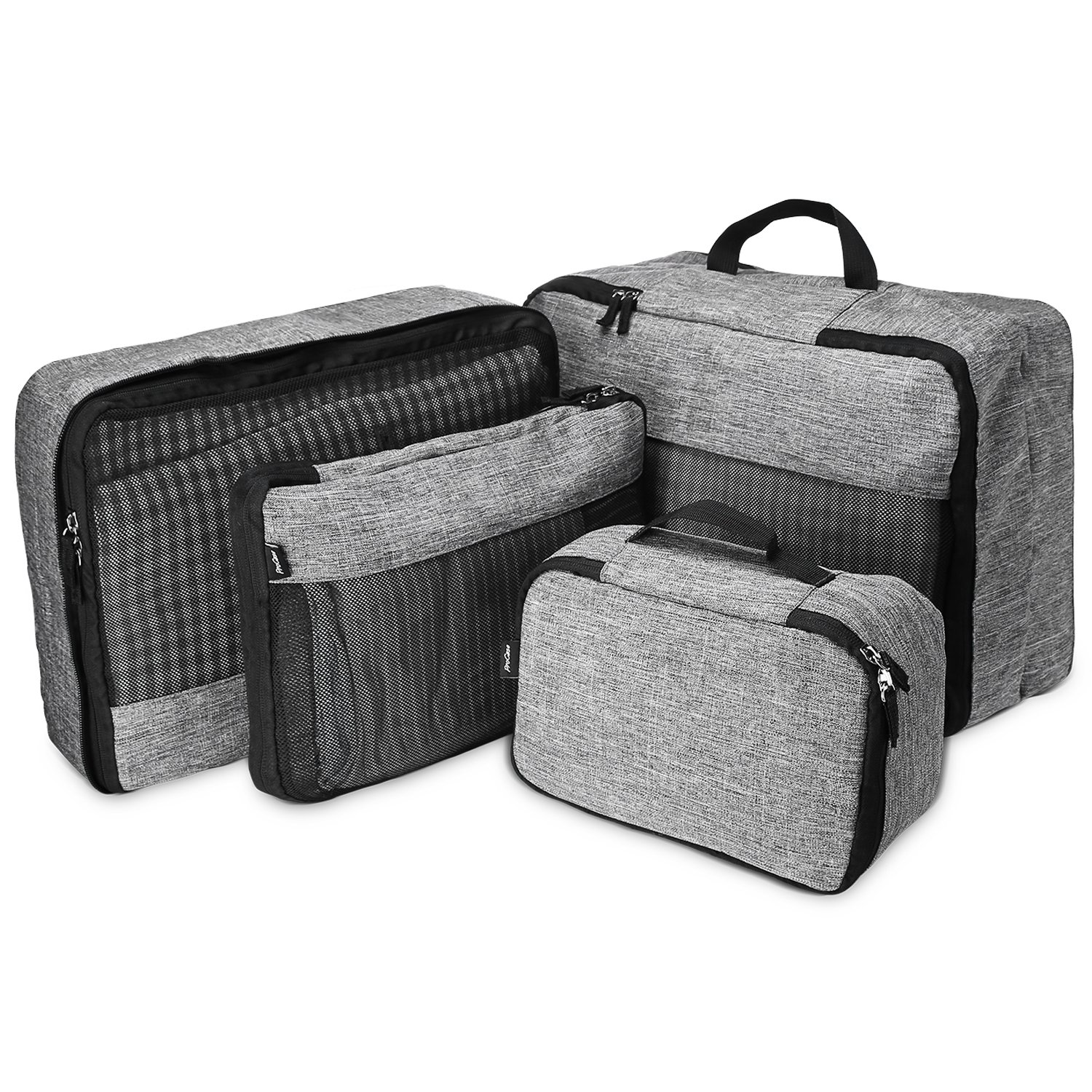 4 Set Packing Cubes, Compression Travel Luggage Organizers with a Toiletry Bag