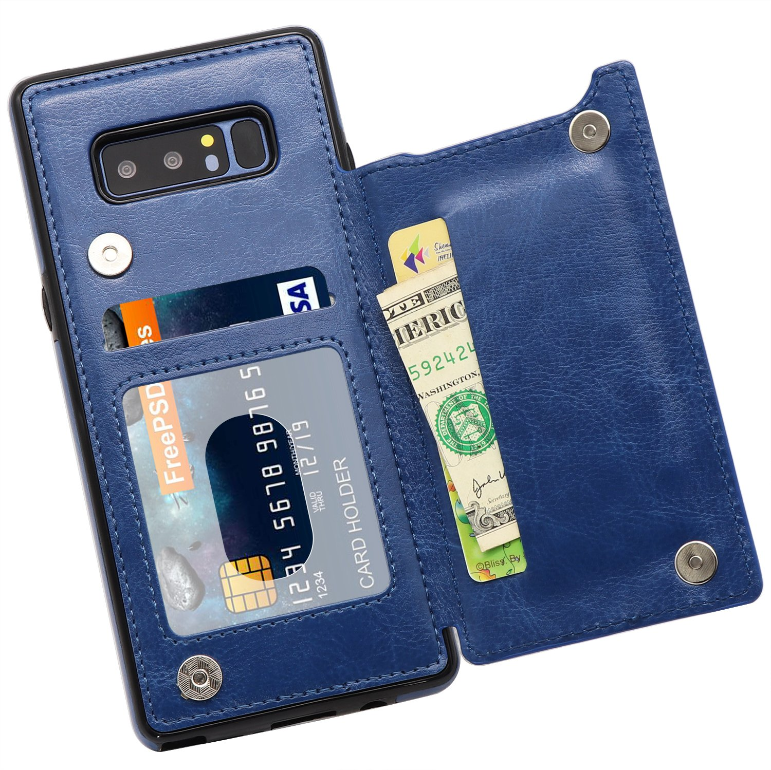 Galaxy Note 8 Wallet Case, MMHUO Premium PU Leather Galaxy Note 8 Case with Credit Card Holder Double Magnetic Buttons Flip Shockproof Protective Cover Samsung Galaxy Note 8 - Blue