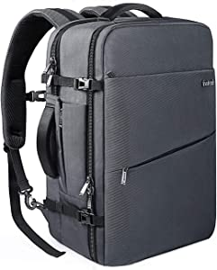 Inateck 40L Travel Backpack, Flight Approved Carry-On Hand Luggage Backpack, Anti-Theft Laptop Rucksack Large Daypack Weekender Bag for 17'' Laptop - Gray