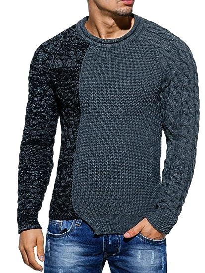 Tazzio Pullover Herren Strickpullover Strick Pulli Winter asymetrisch Zopfstrick Slim Fit Optik