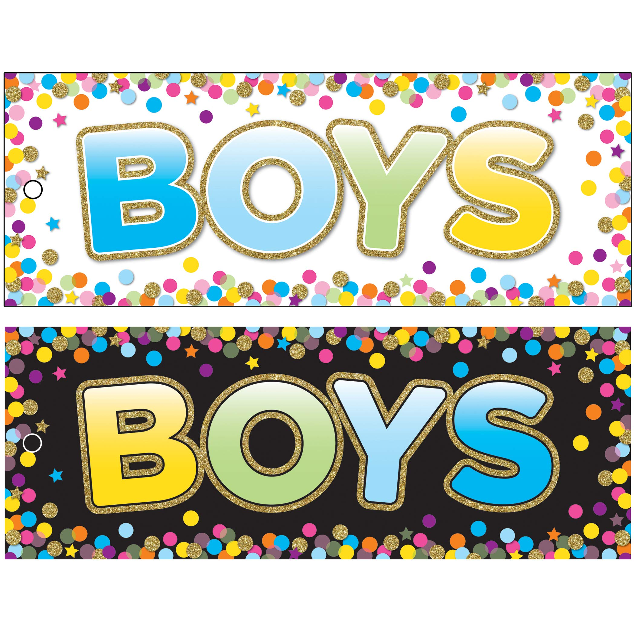 Ashley Productions ASH10748BN Laminated Double-Sided Hall Passes, 9'' x 3.5'', Confetti Boys Pass, Pack of 10