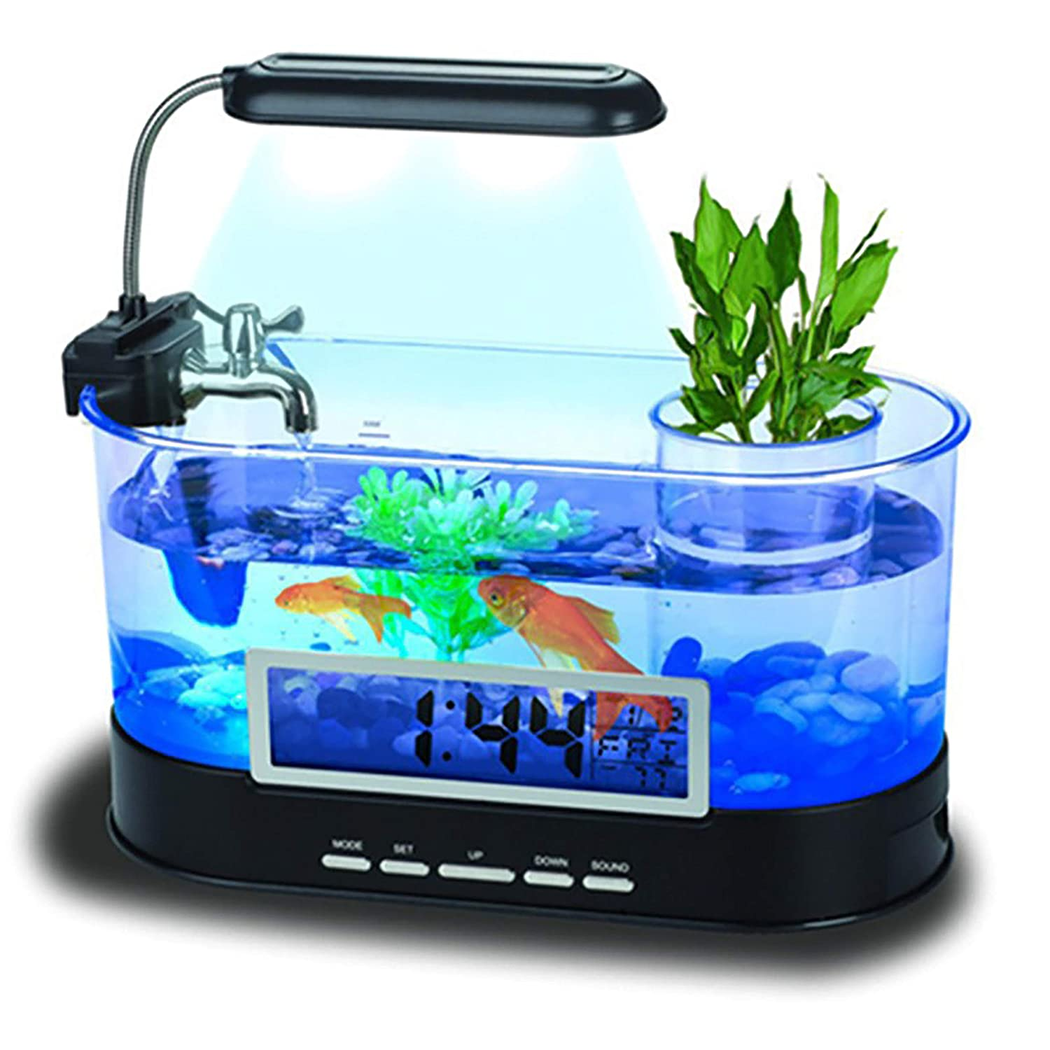 Black JIANGU Ecological home ultra white acrylic fish tank aquarium goldfish tank new smart USB desktop fish tank mini creative-black