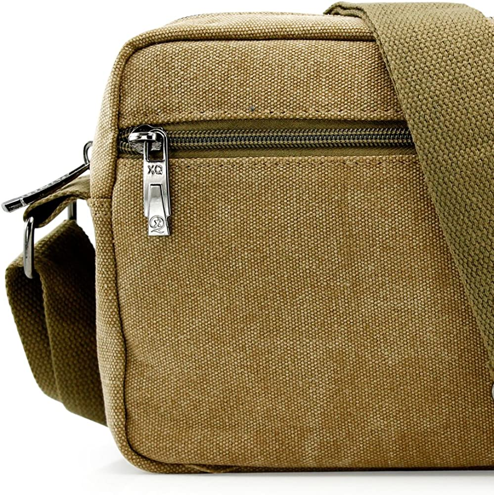 GEARONIC TM Men Vintage Crossbody Canvas Messenger Shoulder Bag School Hiking Military Travel Satchel