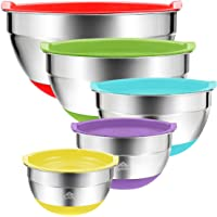 Mixing Bowls with Lids 5 Set Australia – Stainless Steel Silicone Non Slip Grip Base - Quality Colourful Prep Bowls for…