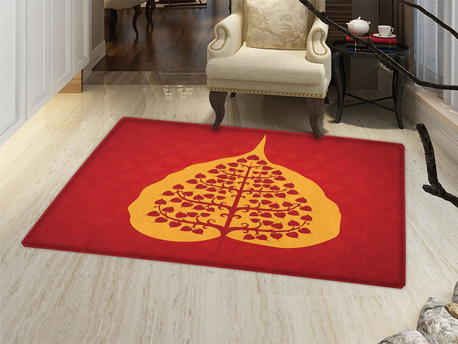 smallbeefly Leaf Bath Mats Carpet Artistic Design of Bodhi Tree Nature and Religion Yoga Meditation Floor Mat Pattern Vermilion Ruby and Marigold