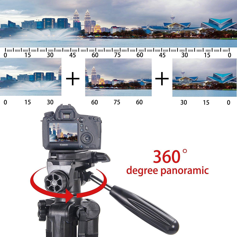 Leichte Stativ – 140 cm Kompakt Kamera Stativ mit 360 Grad Schwenkkopf und Schnellwechselplatte für Digital SLR Canon EOS Nikon Sony Panasonic Samsung – Schwarz …