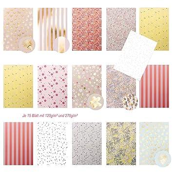 Edle pastellfarbene Motivpapier Bastelpapier Dekorpapier ...