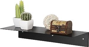 17-Inch Modern Black Metal Floating Shelf/Wall-Mounted Display Stand/Hanging Organizer Rack - MyGift