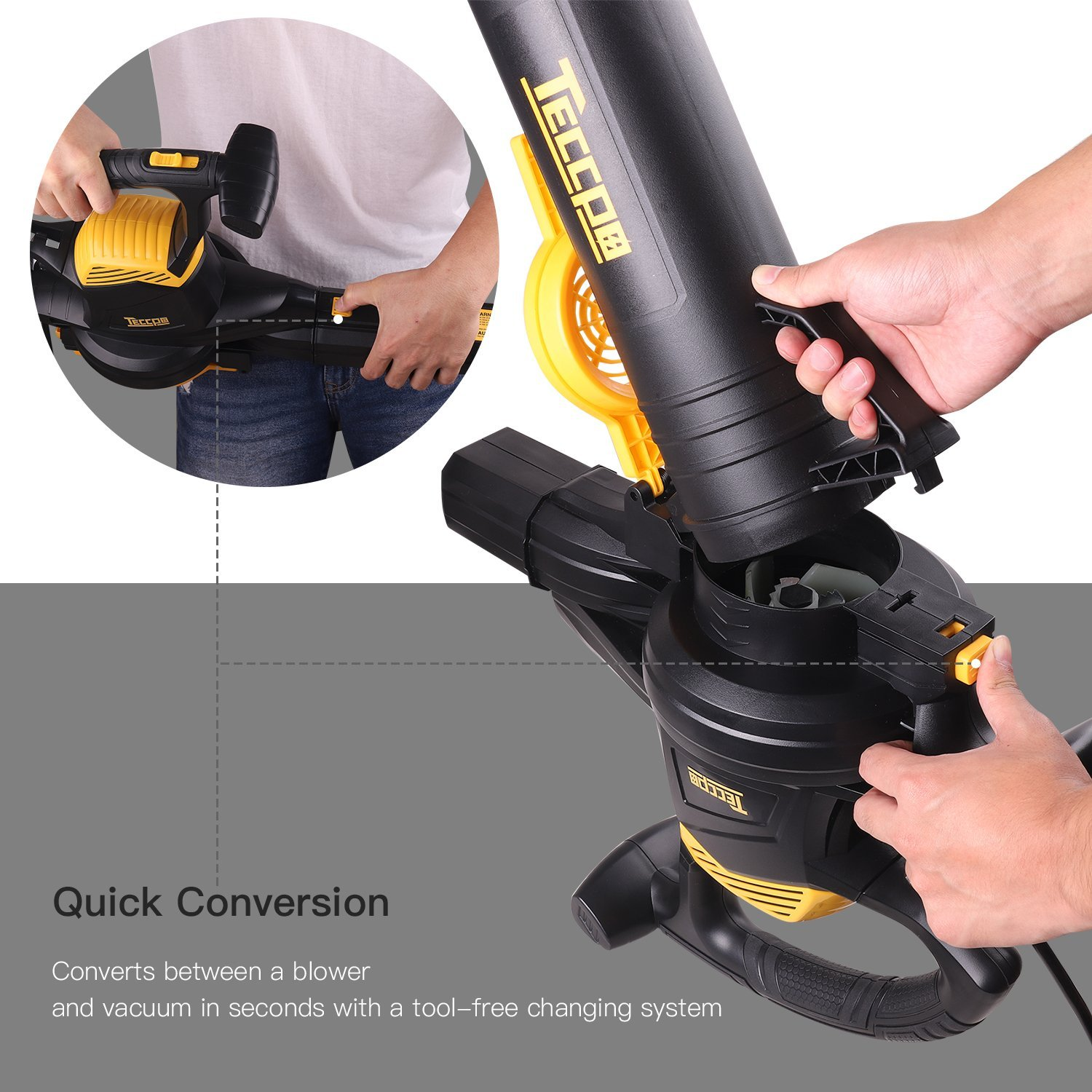 Leaf Blower Vacuum, TECCPO TABV01G 12-Amp 250MPH 410CFM 3 in 1 corded electric Two-Speed Sweeper/Vac/Mulcher, Plastic Impeller Metal Blade, Ideal for Lawn and Garden by TECCPO (Image #5)