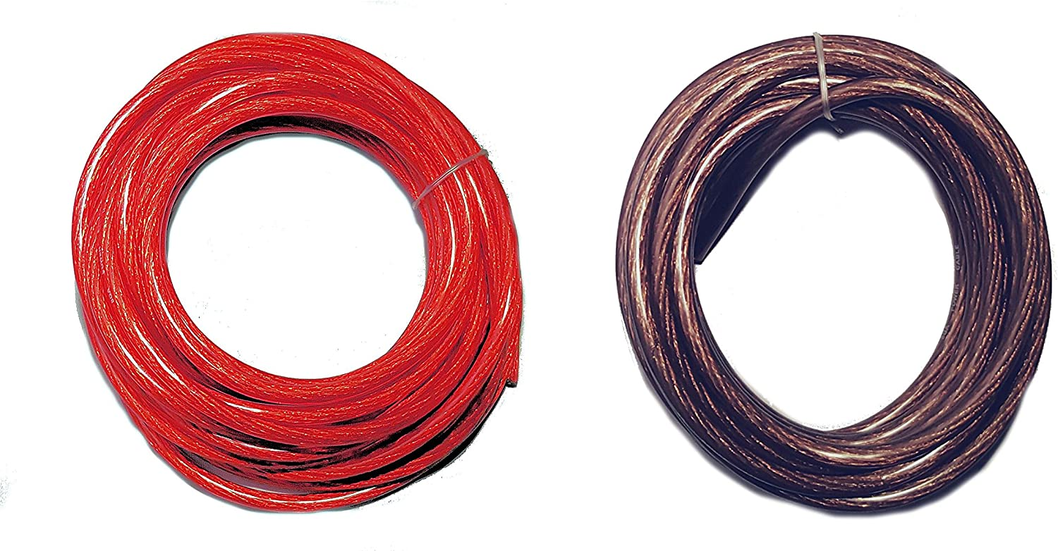 20/' ft 4 Gauge 10/' RED and 10/' Black Car Audio Power Ground Wire Cable Feet AWG