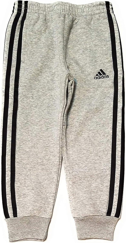 5, Grey//Black Stripe adidas Little Boys Fleece Athletic Training Sweatpants