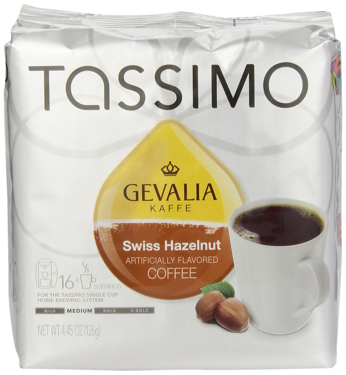 Gevalia Swiss Hazelnut, 16-Count T-Discs for Tassimo Brewers (Pack of 3)