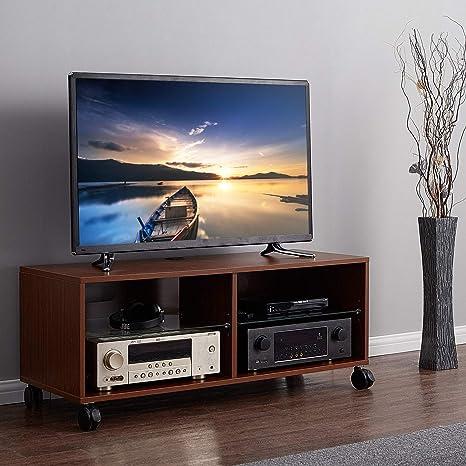 RFIVER Mueble TV con Ruedas Mesa para Televisión de Color Nogal 110x40x44 TS5002: Amazon.es: Electrónica