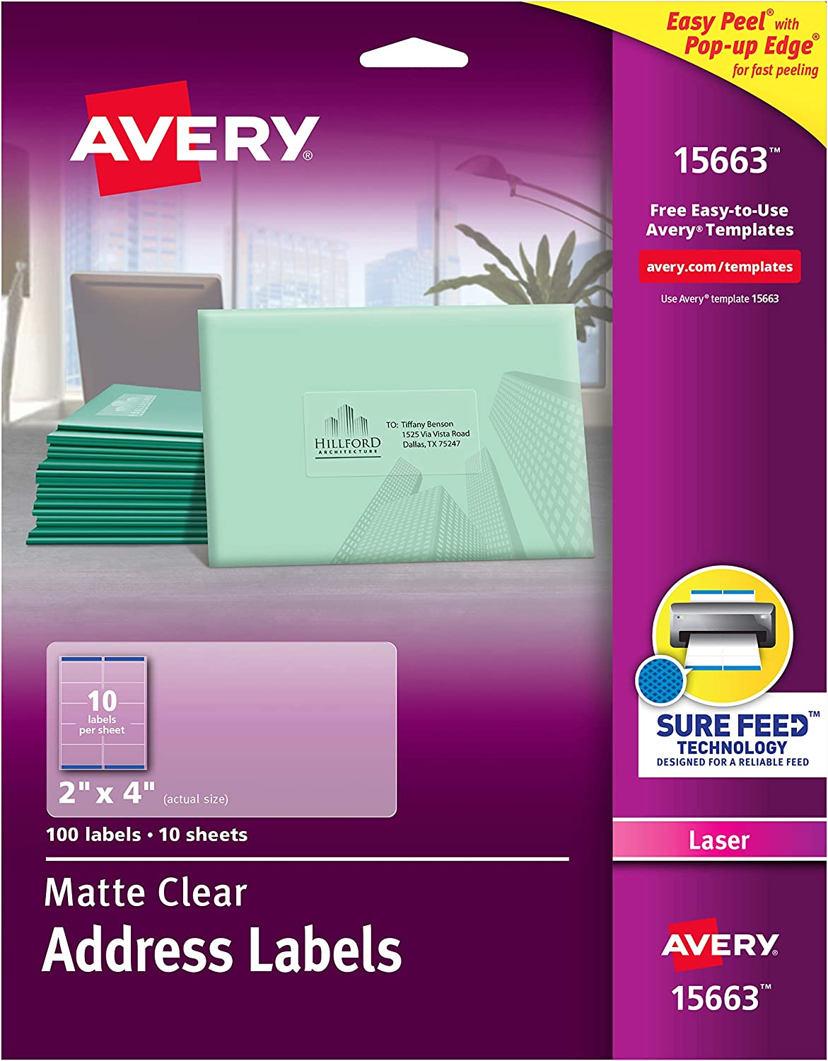 """AVERY Matte Frosted Clear Address Labels for Laser Printers, 2"""" x 4"""", 100 Labels (15663)"""