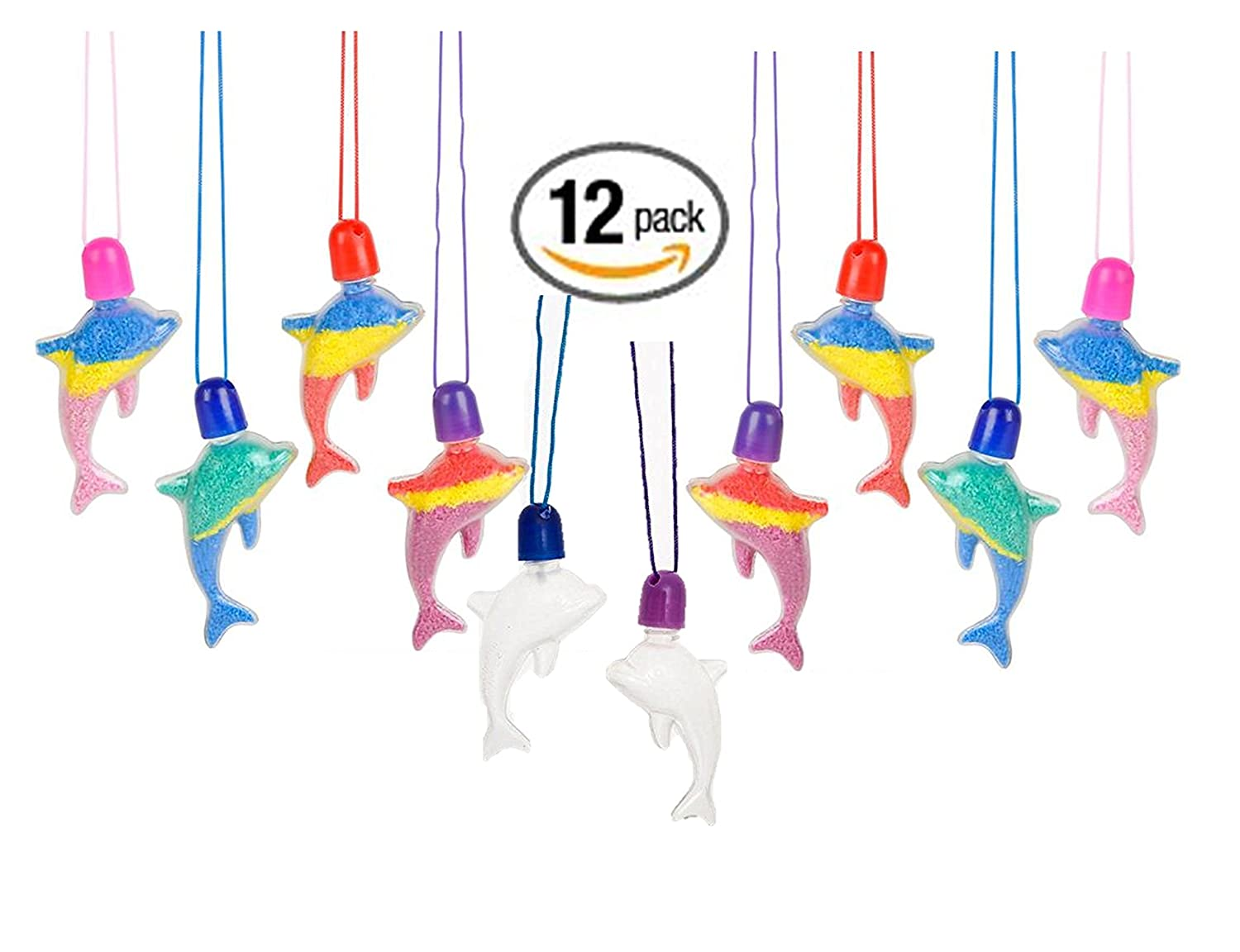 Sand Art Necklaces Packege of 12 Fun Crafts Activity /& Great party accessories Play Kreative TM Dolphin