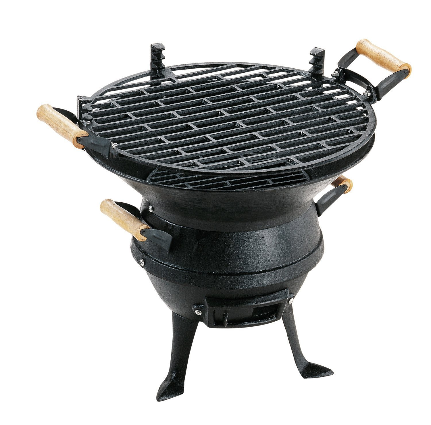 Black Barrel Charcoal BBQ w// Cast Iron Adjustable Grill Garden Camping Barbeque