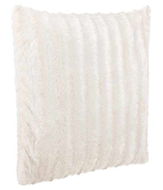 Beutissu – Cojín (imitación de pelo de cojín sofá cojín – Muy Suave y cálido – En Varios Motivos – Brand sseller, poliéster, crema y blanco, 50 x 50 ...