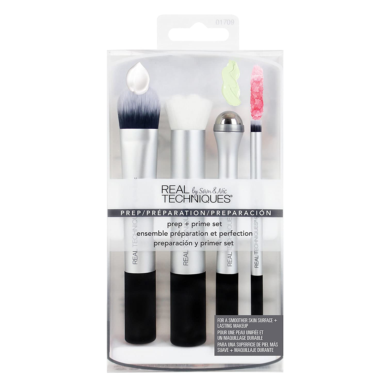 Real Techniques-Prep and Prime Set-Makeup Brush Set-For Pre-Makeup Routine: Moisturizers, Serums, Primers, Masks, Eye Cream, Exfoliation Paris Presents Incorporated 1709M
