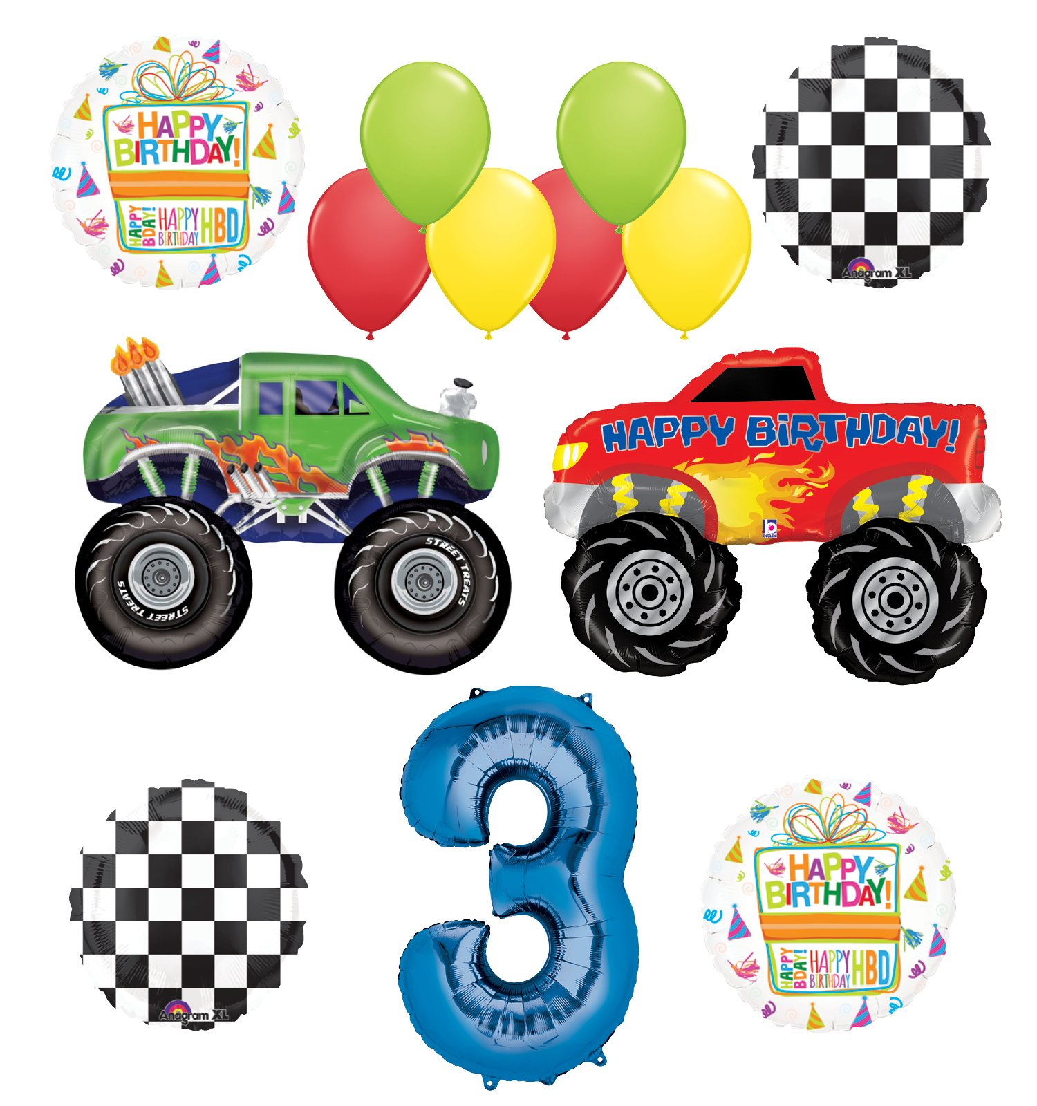Monster Truck Party Supplies 3rd Birthday Balloon Bouquet Decorations by Mayflower Products