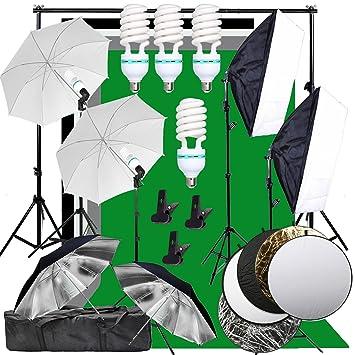 yisitong Studio de fotografía Softbox Antecedentes Kit de iluminación continua 4 x Bombilla 135 W con