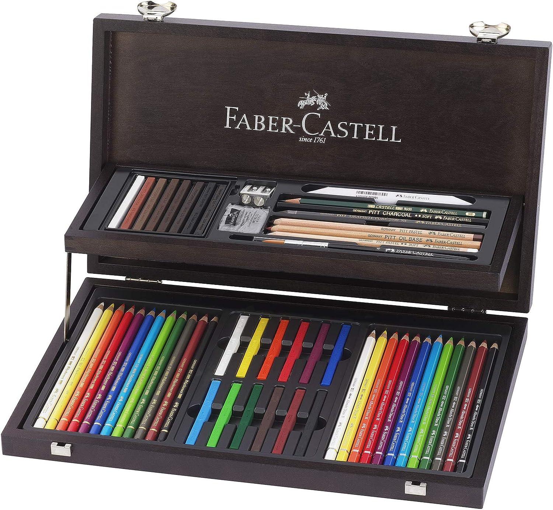 Faber-Castell 110088 - Estuche de madera de 24 piezas con equipo básico de las 3 gamas, ecolápices polychromos, tizas, grafitos y accesorios: Amazon.es: Oficina y papelería