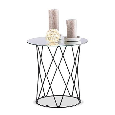 Tisch Rund Metall Glas.Relaxdays Spiegel Beistelltisch Rund Verspiegelte Glas Tischplatte Metall Drahtkorb Tisch H X ø 40 X 40 Cm Schwarz Standard