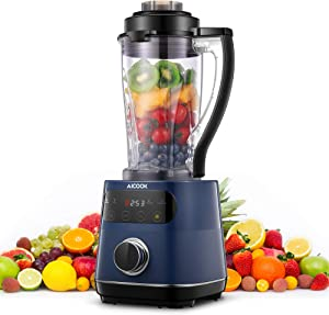 Smoothie Blender for Kitchen, AICOOK Professional Countertop Blender for Shakes and Smoothies, 1200W Food Processor Blender with Touch Screen, 60oz BPA-Free Pitcher for Puree, Ice Crush, Frozen Fruits