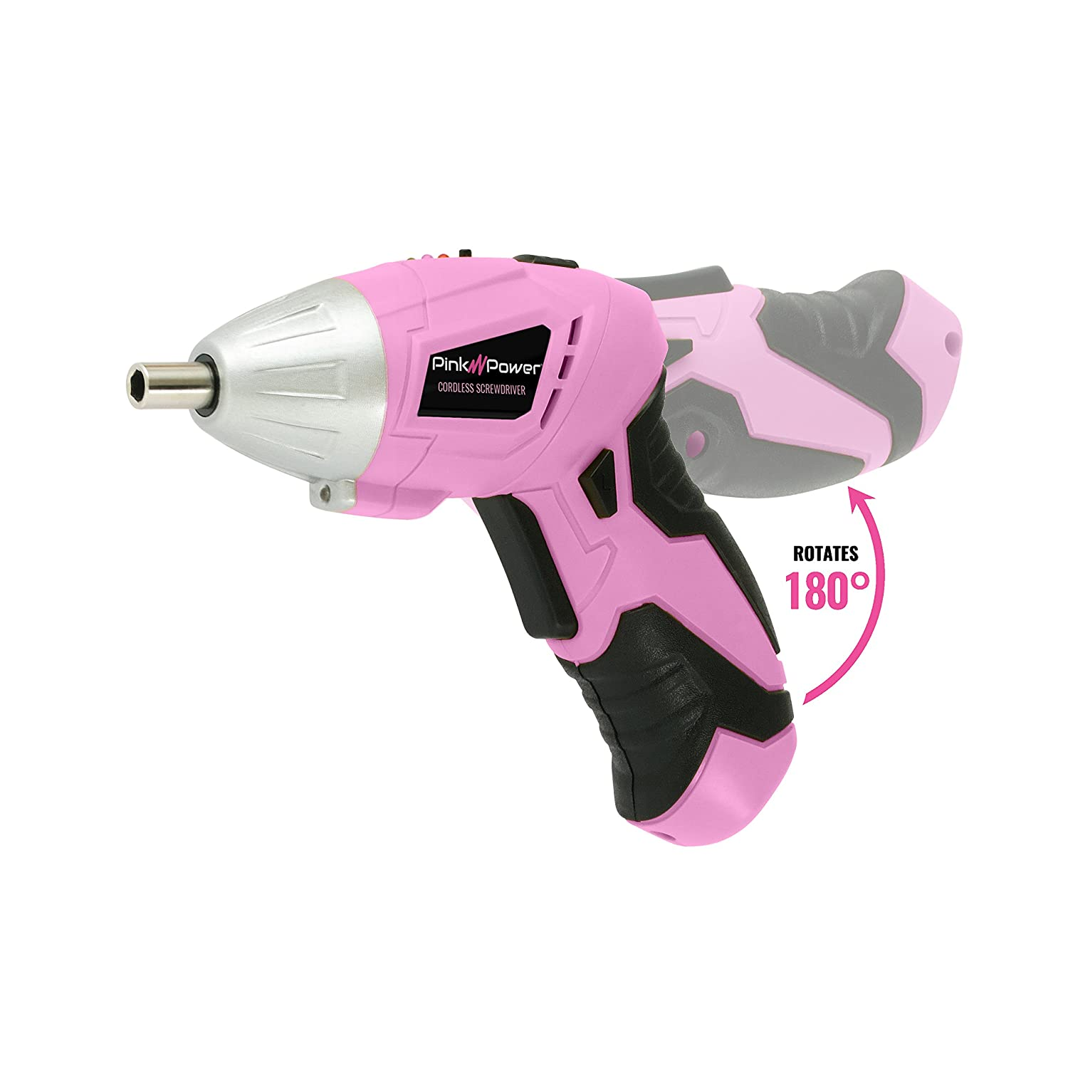 Pink Power 18V Cordless Drill Driver /& Electric Screwdriver Combo Kit with Tool Bag