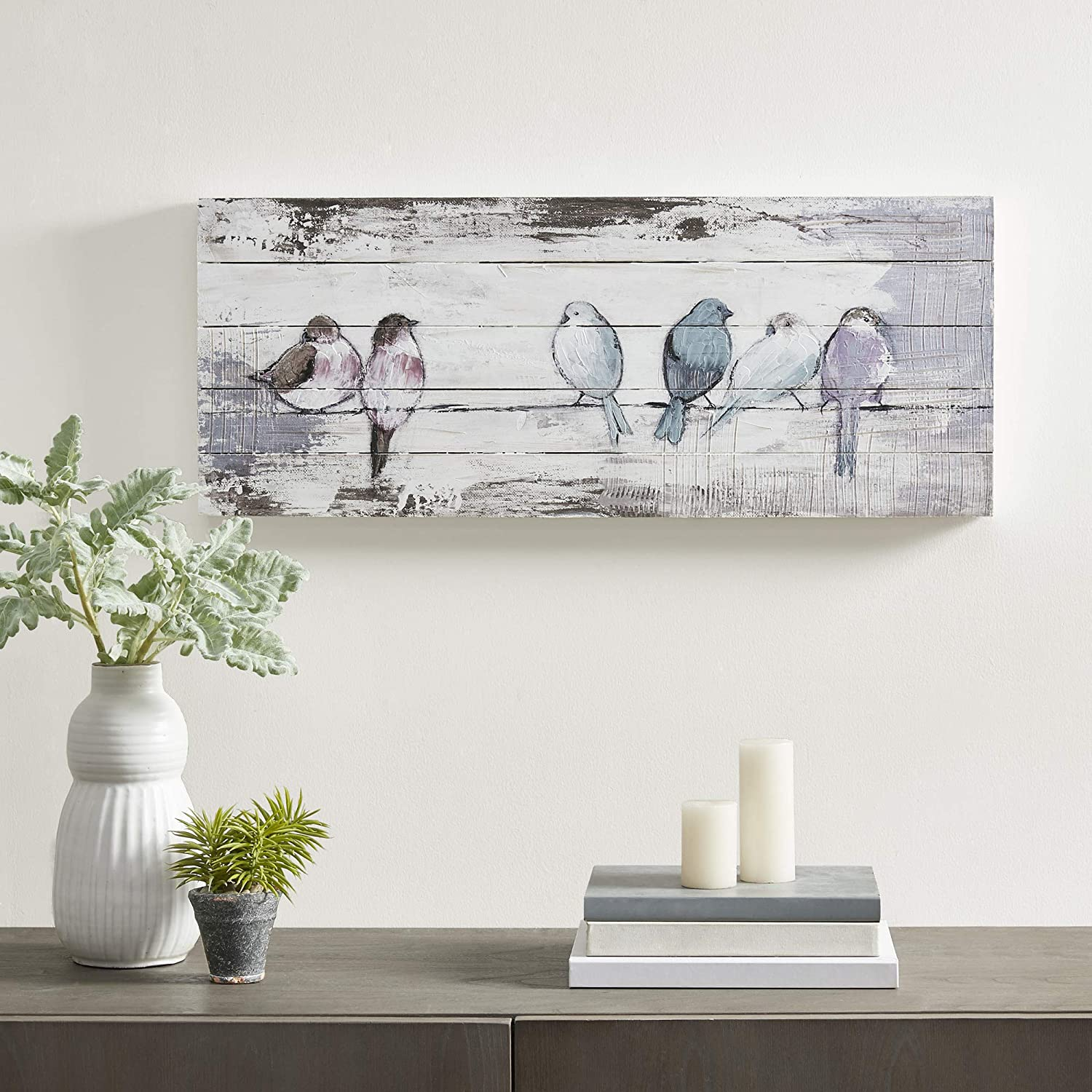 Madison Park Perched Birds Wall Art Living Room Décor-Hand Wood Plank Home Accent Farmhouse Bathroom Decoration, Ready to Hang Painting for Bedroom, 12