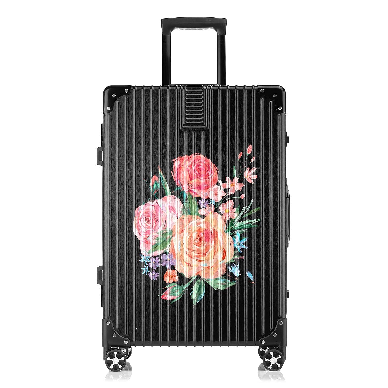GSHCJ スーツケース 美しい花 カーネーション キャリーケース 20インチ おしゃれ ブラック Tsaロック搭載 プリント ハード 超軽量 軽い 機内持込 ロックファスナー 旅行 ビジネス 出張 海外 修学旅行 丈夫 便利 レディース メンズ 学生 B07RZ87P8T