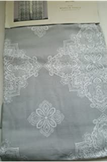 Cynthia Rowley Set Of 2 Window Panels Curtains White Gray Moroccan Large  Medallion Pattern Grey 40  Cynthia Rowley Curtains
