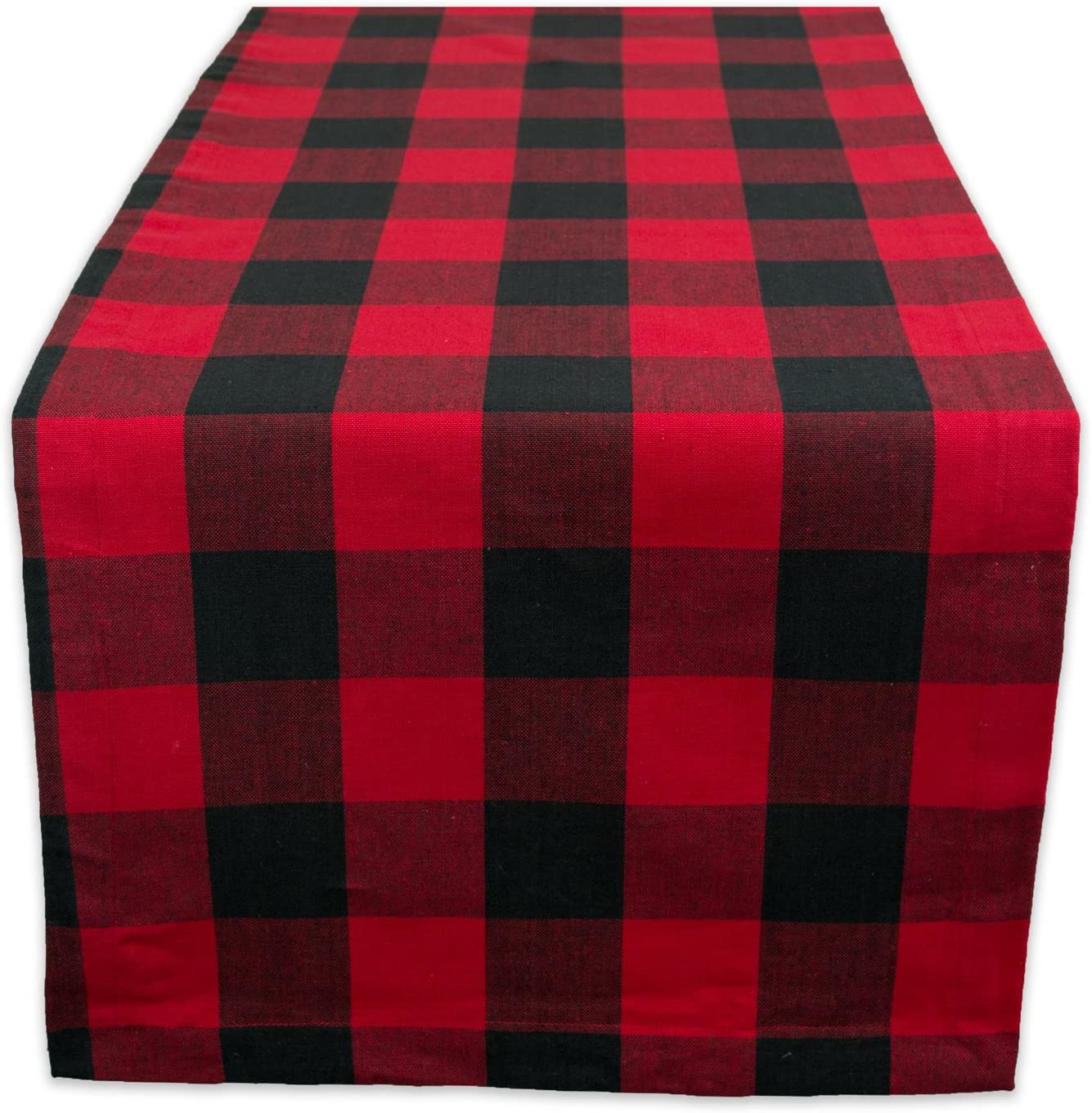 "DII Cotton Buffalo Check Table Runner for Family Dinners or Gatherings, Indoor or Outdoor Parties, & Everyday Use (14x108"",Seats 8-10 People), Red & Black"