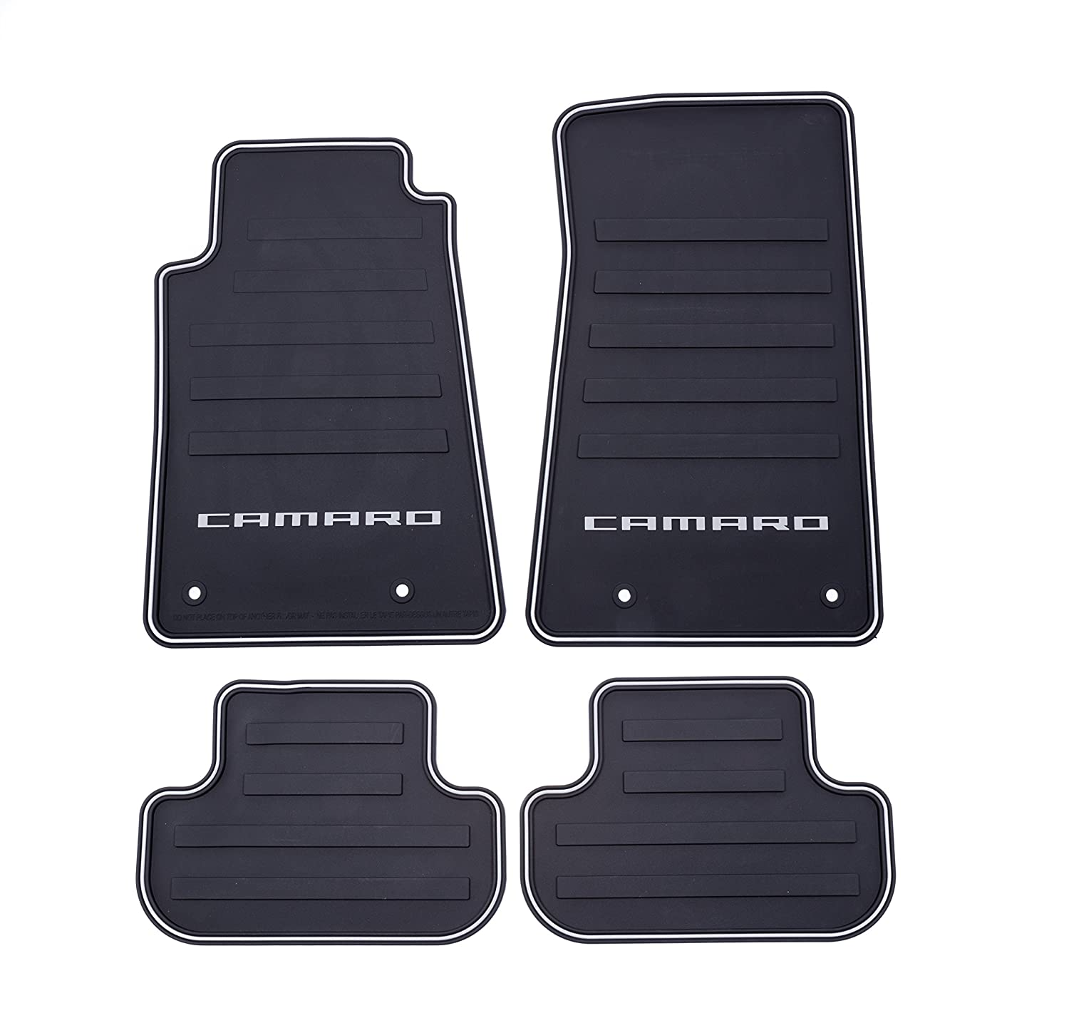 Amazon.com: GM Accessories 22766717 Front and Rear All-Weather Floor Mats  in Black with Camaro Logo: Automotive