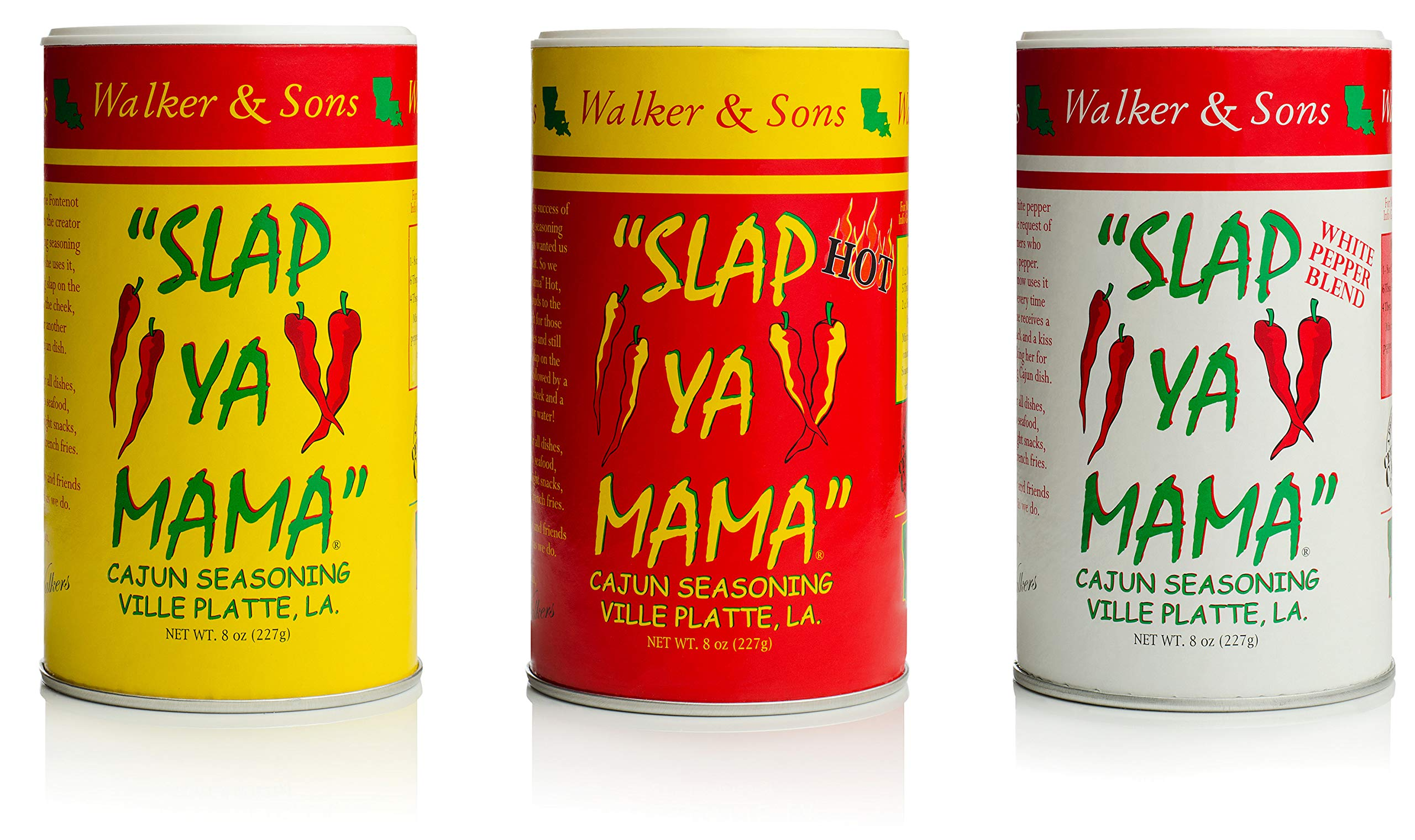 Slap Ya Mama All Natural Cajun Seasoning from Louisiana Spice Variety Pack, 8 Ounce Cans, 1 Cajun, 1 Cajun Hot, 1 White Pepper Blend