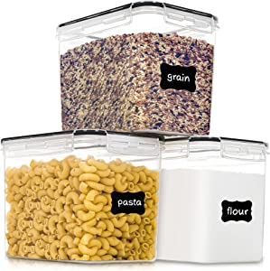 Medium Food Storage Containers with Lids Airtight 3.6L /121.7Oz, for Flour, Sugar, Baking Supply and Dry Food Storage, PantryStar 3PCS BPA Free Plastic Canisters for Kitchen Pantry Organization