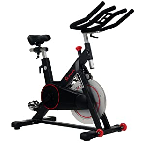 Sunny Health & Fitness Magnetic Belt Drive Indoor Cycling Bike with High Weight Capacity and Tablet Holder