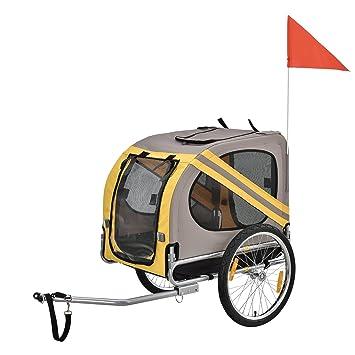 [pro.tec]]]]® Remolque de Bicicletas para Perros - Cargador para Perros - Gris/Amarillo / Negro: Amazon.es: Deportes y aire libre