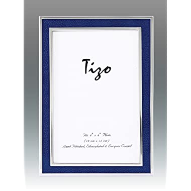 Tizo 5  X 7  Sterling Silver Frame with Blue Leather Inlay, Made in Italy