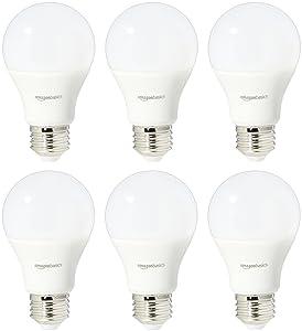 AmazonBasics 75 Watt Equivalent, Daylight, Dimmable, A19 LED Light Bulb | 6-Pack