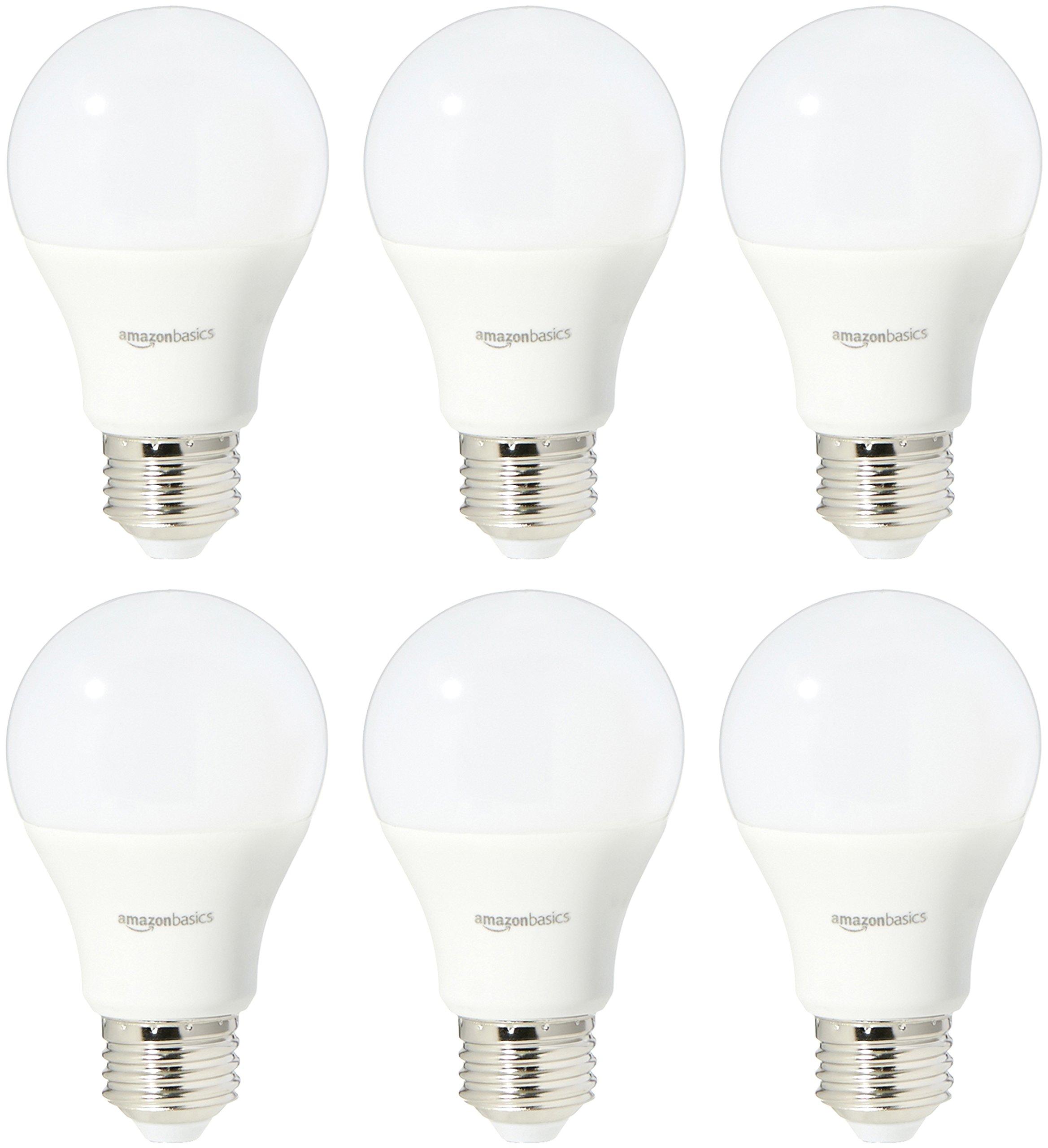AmazonBasics 60 Watt Equivalent, Soft White, Dimmable, A19 LED Light Bulb | 6-Pack