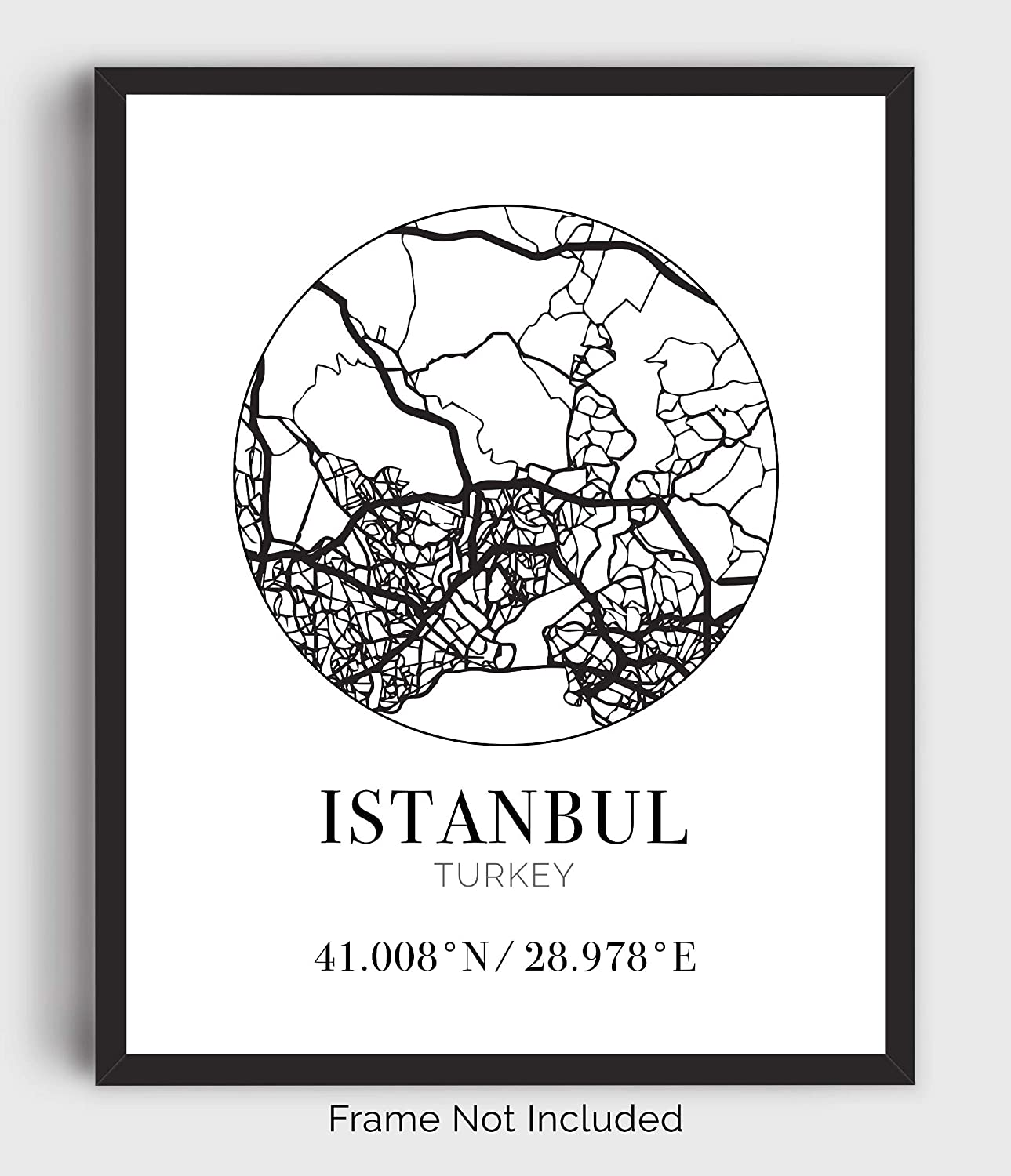 Istanbul Turkey Street Map Wall Art - 11x14 Modern Abstract Black & White Aerial View Decor Print with Coordinates. Makes a great Turkish-Themed Gift.